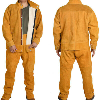 Leather Welding Jacket Coat+Trousers with Liner Protective Apparel Suit Welder