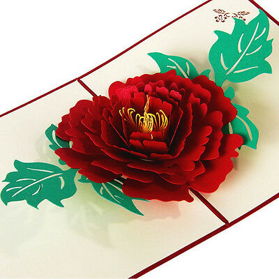 3D Pop Up Greeting Cards Peony Birthday Valentine Mother Day Thank You Christmas