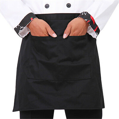 Plain Black Half Size Waist Waiter Waitress Apron for Bar cafe Pub 2 Pockets