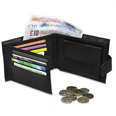 Luxury Mens Leather Bifold Wallet ID Credit Card Holder Slim Coin Purse Black