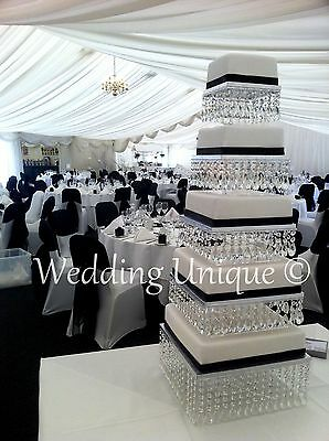 Crystal wedding cake stand square mutiple tier chandelier cake stand