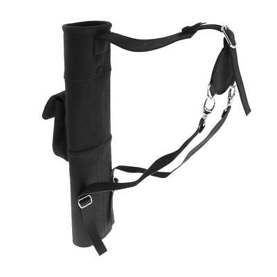 PU Leather Arrow Quiver Back Archery Holder with Pocket Pouch Hunting
