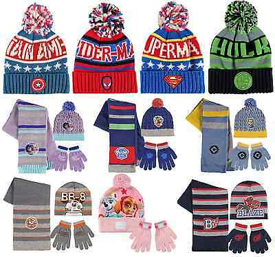 Boys Girls Kids Official Character Winter Hats Or Hat Gloves And Scarf Sets