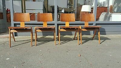 Set of  four  Vintage Robin Day Hille Hillestak Mid Century Ply Bentwood Chairs