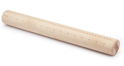 Paul Hollywood Bakeware 43cm Solid Wood Pastry Rolling Pin & Measuring Guide