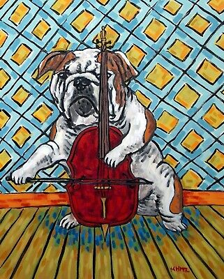 bulldog playing cello signed dog art print 13x19