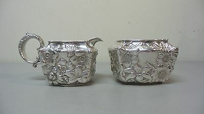 """Antique Whiting Mfg. Co. Sterling Silver """"lily"""" Repousse Creamer & Sugar"""