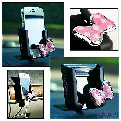 Smartphone Cell Phone Holder for Car Vehicle / Adhesive Support / Minnie Mouse