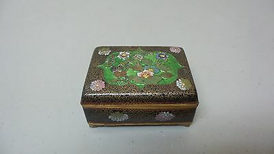 Beautiful Antique Japanese Cloisonne Lidded Box, Ginbari Decoration