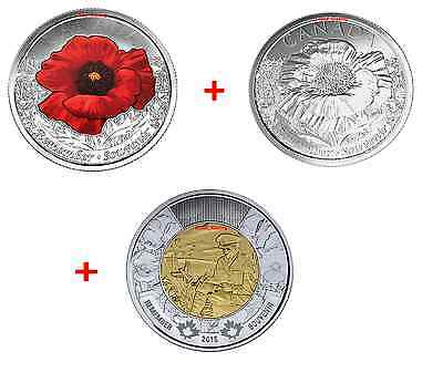 2015 Canada Remembrance Coin - 1 Flanders Fields Toonie and 2 Poppy Quarters.