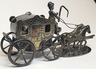 "RARE 3"" Antique Silver Miniature Horse & Carriage Vintage Buggy Doll House TP"