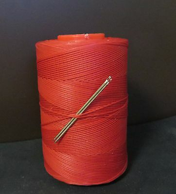 RITZA TIGRE WAXED HAND SEWING THREAD 1.0m FOR LEATHER/CANVAS & 2 NEEDLES RED