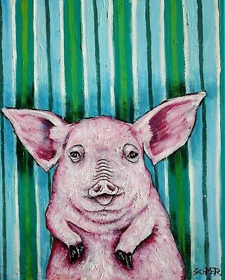 Jester Pot Belly Pig 4x6 glossy new print animals impressionism gift new