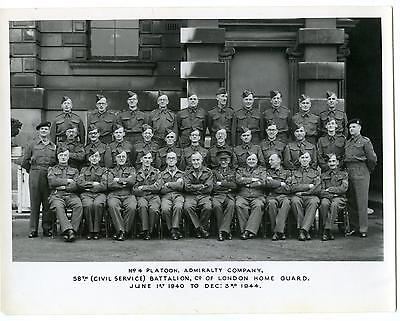 Vintage Large Photo  58th Home Guard London WW2 Vintage Large Photo approx 10x7