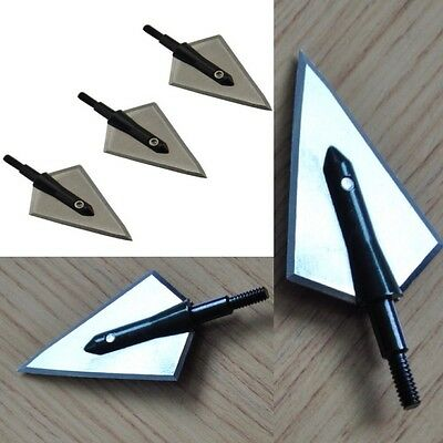 3 Steel Broadheads Traditional 2D Blade 125grn archery arrows hunting Bow