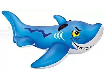 Giant Inflatable Shark Swimming Pool Ride On Floating Toy Kid Friendly Lake Raft