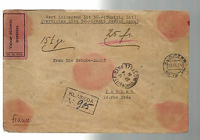 1934 Klaipeda Lithuania Jewish Volks Bank Registered cover France Red Wax Seal