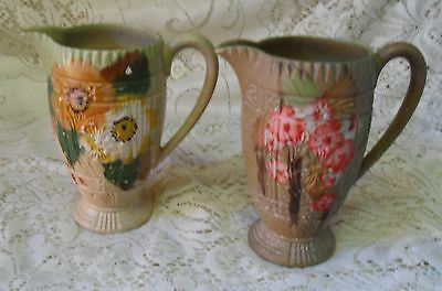 Pair Of Vintage Sylvac Hand Painted Floral Jugs Made In England