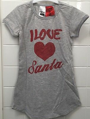 Girl Size 2 Christmas Nightie Nightdress Pjs Xmas BNWT New I Love Santa