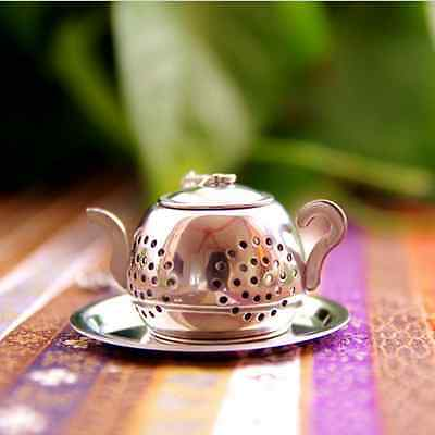 Teapot Shape Stainless Steel Leaf Tea Infuser Filter Strainer Ball Spoon OP