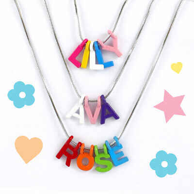 Personalised Girls Custom Name Necklace, Alphabet Letter, Silver chain for kids