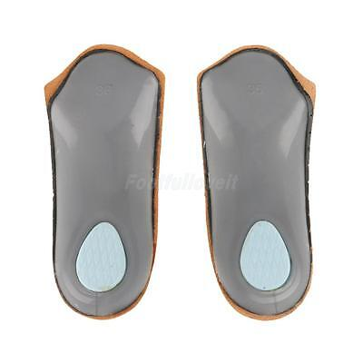 Unisex 3/4 Leather Orthotic Insoles Heel Cushion Arch Support Pain Relief Pads