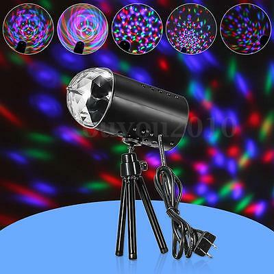 3W LED Crystal Rotating RGB Stage Lighting Lamp DJ Club Disco Voice-activated
