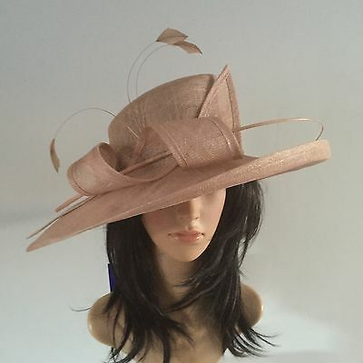 Peter Bettley Deep Nude Wedding Occasion Hat Formal Sinamay Mother Of The Bride