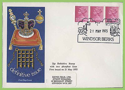G.B. 1975 2½p 2 phosphor band definitive strip, D.F. First Day Cover, Windsor