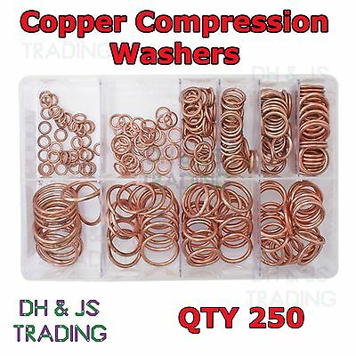 Assorted Box of Copper Compression Washers Metric Qty 250 (6 - 26mm)