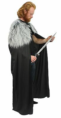 """60"""" John Snow Nights Watch Cape with Dyrewolf Faux Fur Collar Game of Thrones"""