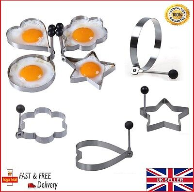 Kitchen Stainless Steel 4 Kind Shaped Cooking Fried Egg Pancake Ring Mold Shaper