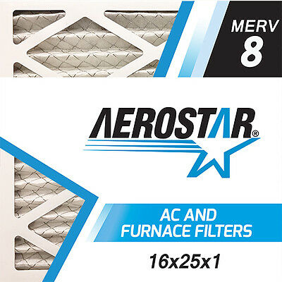 16x25x1 Pure Allergen Merv 8 Pleated AC Furnace Air Filter by Aerostar (12 Pack)