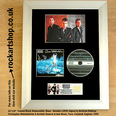 MUSE Showbiz FULLY SIGNED '99 BY MAT+CHRIS+DOM Autographed Matthew Bellamy WORLD