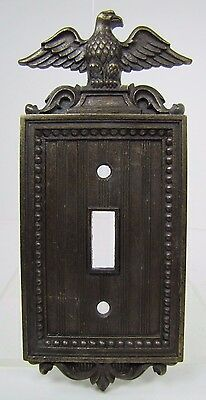Old Eagle Topped Light Switch Cover ornate cast metal brass wash old hardware