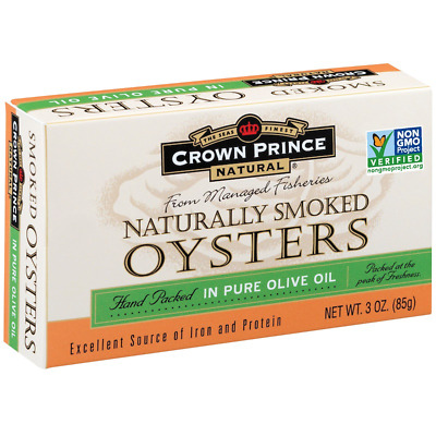 NEW CROWN PRINCE NATURAL NATURALLY SMOKED OYSTERS IN PURE OLIVE OIL BPA FREE 85g