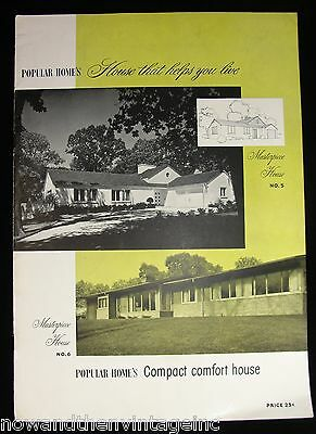 Vintage House Helps You Live Compact 1948 Popular Home Design Booklet US Gypsum