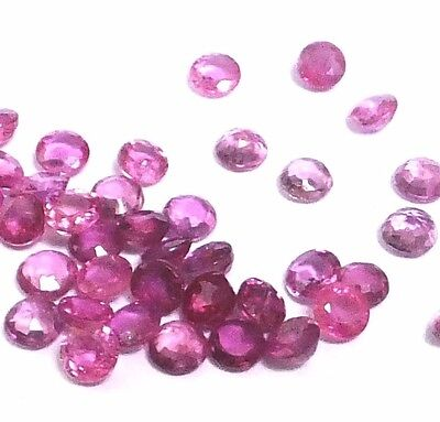 NATURAL INTERESTING PINK RUBY LOOSE GEMSTONES (3 pieces) ROUND SHAPE (2.8 mm)
