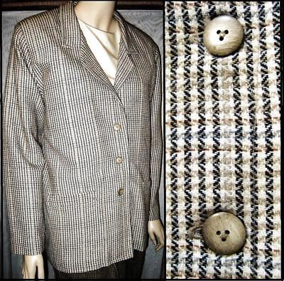 Vintage Handmade Tweed Plaid Blazer Size 16/XL Lined 3 Button Career VGC