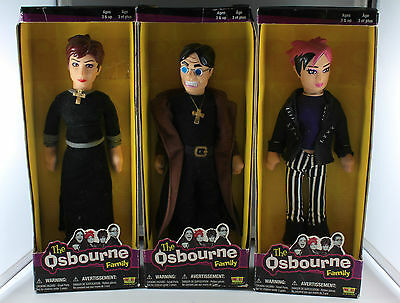 Lot of 3 Fun 4 All The Osbourne Family Dolls, Ozzy, Sharon & Kelly
