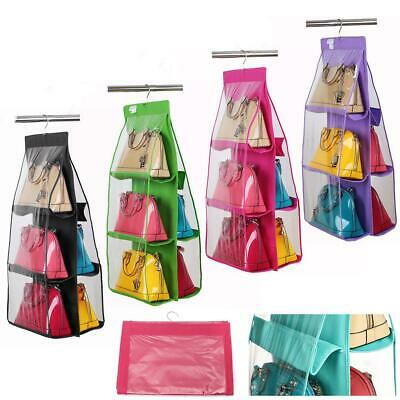 1pcs Hanging Handbag Bag 6 Pocket Tidy Organizer For Wardrobe Closet Storage JJ