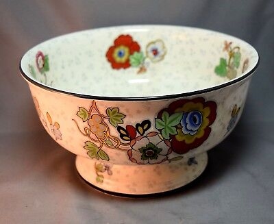 England Crown Ducal Large Pedestal Fruit Bowl w/Flowers ARt Deco Era Art Pottery