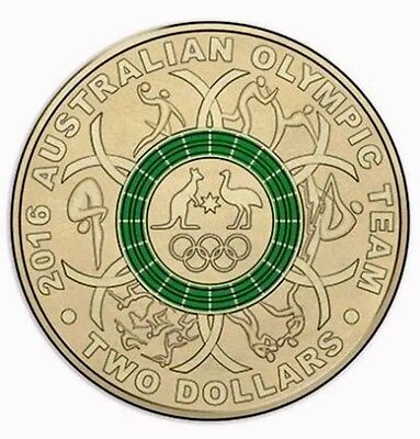 2016 Olympic $2 Coin Australian Two Dollars ### Green ###  CHOICE Uncirculated