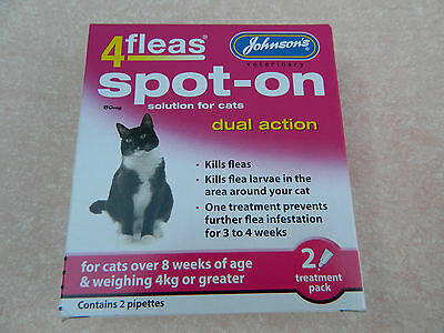 Johnsons Imidacloprid spot-on solution for cats. 2 treatment pack. for cats >4kg
