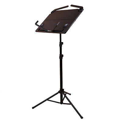 Professional Music Conductor Stand Metal Sheet Tripod Holder Folding Stage Black