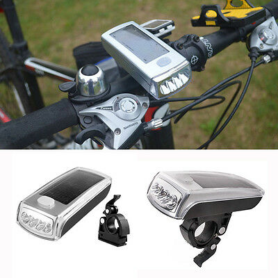 Fashion Rechargeable New 4 LED Bicycle Cycling Solar Headlight Front Head Lights