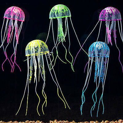 Hot Glowing Effect Aquarium Artificial Ornament Jellyfish Fish Tank Decoration