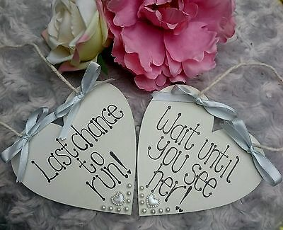 """""""LAST CHANCE TO RUN, WAIT UNTIL YOU SEE HER"""" Wedding Sign Page boyFlower girl"""