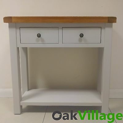 Grey Painted Oak Console Table / Hall Table / Thick Chunky Solid Wood Tuscan