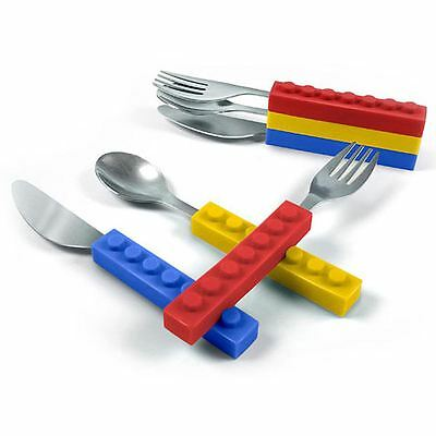 Fred Snack & Stack Children Kids Utensils Interlocking Bricks Picnic Cutlery